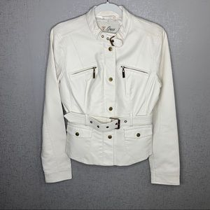 GUESS Off-White Faux Leather Moto Jacket w Belt